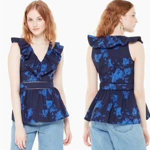 Kate Spade Ruffle Blouse Top V-Neck Hibiscus Blue